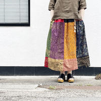 *レディース*SLOWHANDS-スローハンズ-Bandana Vertical PW Gather Skirt/A柄