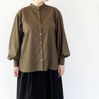 *レディース*amne-アンヌ-Gabardine Gathered L/S shirts/ARMY