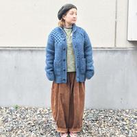 *メンズ&レディース*SLOW HANDS★スロウハンズ★crazy cable shawl cardigan インディゴ染めショールカーディガン