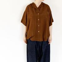 """*レディース*KELEN-ケレン-T/Rサテンオープンカラーシャツ""""Port""""/ブラウン"""