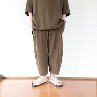 全2色*ユニセックス*SLOWHANDS-スローハンズ-nylon stretch poofy pants 強ストレッチボールシルエットパンツ