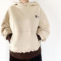 *ユニセックス*H.UNIT-エイチユニット-Raised back hoodie 2トーンパーカー/アイボリー
