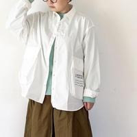 女性着用画*ユニセックス*H.UNIT-エイチユニット- Typewriter ecobag long sleeves shirt/ホワイト