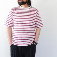 *ユニセックス*LA MOND.-ラモンド-BORDER TEE 5分袖ボーダーTシャツ/ラベンダー(LM-C-101)