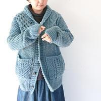 *メンズ&レディース*SLOW HANDS★スロウハンズ★crazy cable shawl cardigan インディゴ染めショールカーディガン  のコピー