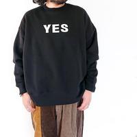 *ユニセックス*H.UNIT-エイチユニット- YES NO print crewneck sweat/ブラック