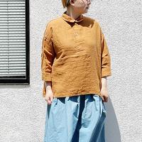 *レディース*OMNIGOD-オムニゴッド-麻キャンバス 7分袖スウェディッシュシャツ /ウォルナット