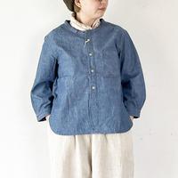 *レディース*OMNIGOD-オムニゴッド-7分袖スタンドカラーシャツ(インディゴ)