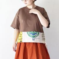 *レディース*yoused-ユーズド-裾リボンパッチワークワイドTシャツ ブラウンA柄