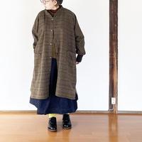 *レディース*SLOWHANDS-スローハンズ-wool glencheck momonga coat/ウールグレンチェックモモンガコート