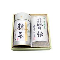 №CE-2 宇治新茶 上煎茶180g+荒茶玉露100g缶和紙箱入り