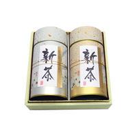 №BC-3 宇治新茶 上煎茶180g缶+特上煎茶180g缶和紙箱入り
