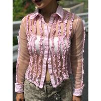 Vintage Mesh Frill Shirts Pink