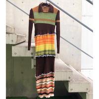Remake   Multi  Border  Knit  One-piece