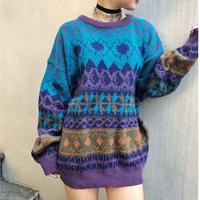 Vintage Pattern Knit(Purple/Multi)
