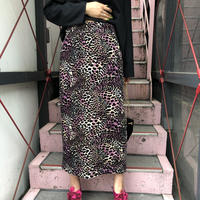 Vintage  Velvet Leopard Skirt Pink