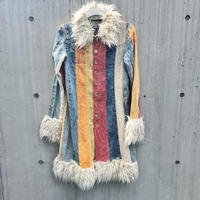 Vintage  Cords Denim Patchwork Long Coat