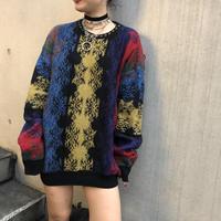 Vintage Pattern Knit(Black/Multi)