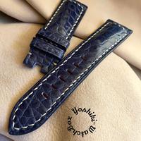 クロコダイル レザー 腕時計ベルト ブルー (ラグ幅24mm - バックル幅22mm) cro-441