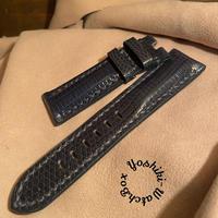 リザード レザー 腕時計ベルト ネイビー 22mm-20mm  LIZ-39