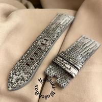 リザード レザー 腕時計ベルト ホワイト (ラグ幅24mm - バックル幅22mm) liz-75