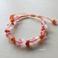 編みブレスレット~夕焼け色・サードオニキス