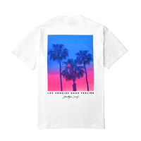 Palm tree Gradation Photo Graphic Pocket Tee / White