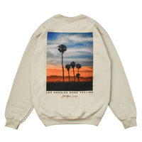 Sunset Photo Graphic Crew Neck Sweatshirt / Sand