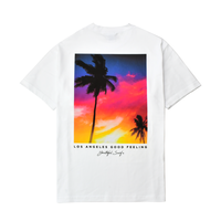 Palm tree Sunset Photo Graphic Pocket Tee / White
