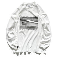 Surf Photo Big Silhouette Long Sleeve Tee  【White】