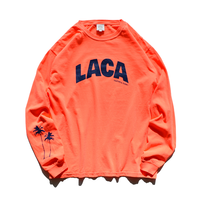 LACA Palm tree Pigment dyed L/S Tee / Neon orange