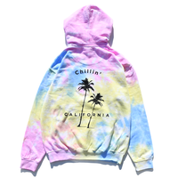 Chillin' california  Tie Dyed Hooded Sweatshirt / Sherbet