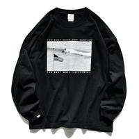 Surf Photo Big Silhouette Long Sleeve Tee  【Black】