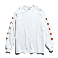 3D Long Sleeve Tee / Neon Orange × White