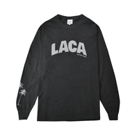 LACA Palm tree Pigment dyed L/S Tee / Pepper