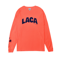 LACA Palm tree Pigment dyed L/S Tee / Neon orange