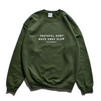 WAVE SWAY SLOW Crew Neck Sweatshirt  / Washed Green