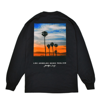 Sunset Photo Graphic Long Sleeve Tee / Black