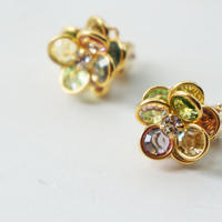 vintage multicolor flower earring