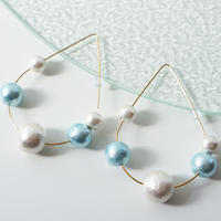 bubble pierced earrings aqua