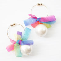 rainbowflower earring ringtype