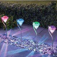 屋外 LED ソーラーライト ガーデン装飾 ダイヤモンド型のソーラーライト_4本セット