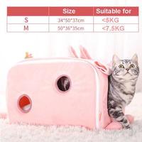 キャリーバッグみたいでかわいい♪ピンクの猫のベッド 猫ハウスペット 猫ちゃん、ワンちゃんの冬用のお家_Sサイズ