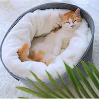 猫のベッド 猫ハウスペット 猫ちゃん、ワンちゃんのソフトで快適な冬用のお家_Mサイズ