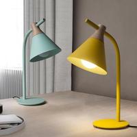 北欧シンプルな鉄・木製 テーブルランプ デスクランプ LED E27 選べる4 色