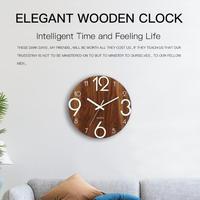 木製の壁時計 数字が光る ぶら下げ時計 静音 光る壁時計 現代装飾 リビングルームなど