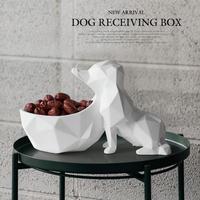 家の装飾 リビングルームのテーブルに 樹脂動物工芸 キャンディーナットキー電話収納ボックス 犬の置物