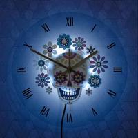 シュガースカルの壁掛け時計 お部屋のアクセントやプレゼントにも最適_バックライト付き