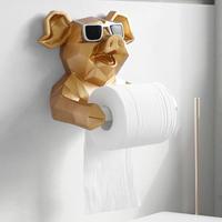 ブタ・ネコ・イヌ トイレットペーパーホルダー トイレ 洗面所 穴を開けずに取り付け可能なホルダー