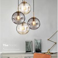 ガラス玉のペンダントライト LED E27 北欧ランプ 2 色リビングルーム 寝室 ロビーキッチンに最適